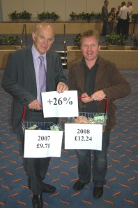 Nick campaigning with Vince Cable MP on rising food prices