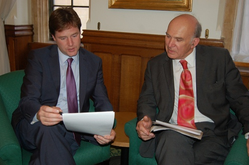 Nick Clegg and Vince Cable discuss proposals on the economy