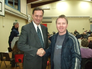 Nick with Castle Ward councillor Peter Armstrong at the public meeting, Castledown Primary School
