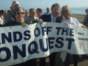 Nick with Margaret Williams at the march in Eastbourne