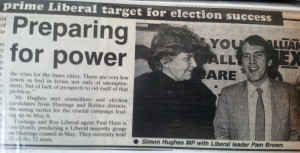 Pam Brown with Simon Hughes, Hastings Observer, March 1986